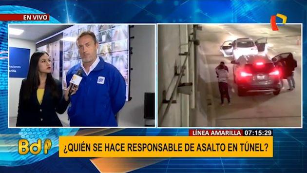 """Lamsac: """"Túnel de Línea Amarilla no está preparado para asaltos"""""""