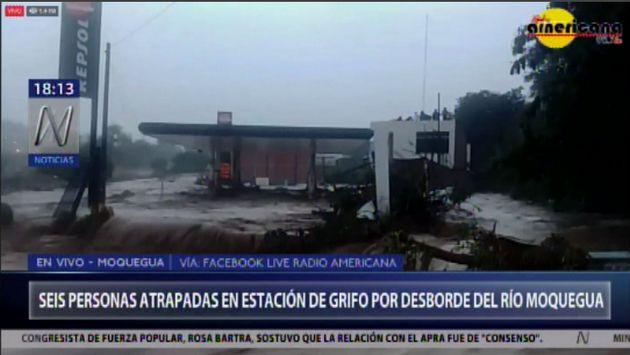 Moquegua: siete personas atrapadas en estación de grifo por desborde de río | VIDEO