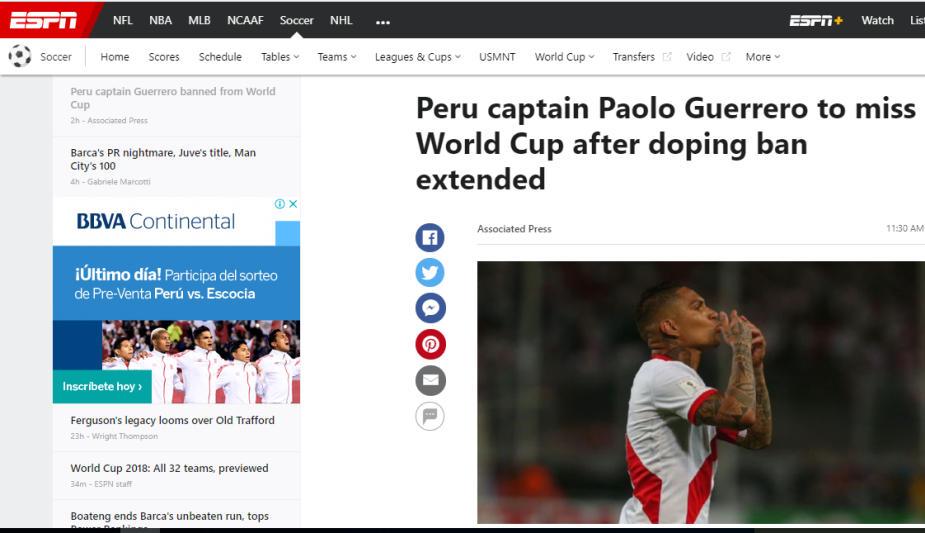 Paolo Guerrero: reacciones de las prensa internacional por la sanción