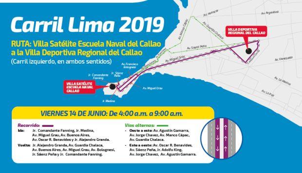 Lima 2019: restringirán vías del Callao en la segunda prueba del carril exclusivo para delegaciones