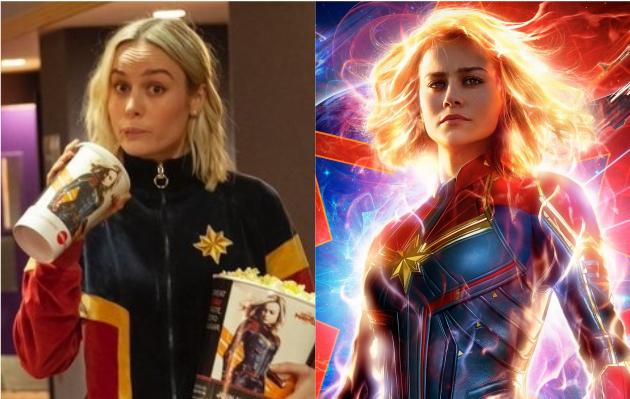 Brie Larson se vistió al estilo de Capitana Marvel y sorprendió a fans en el cine