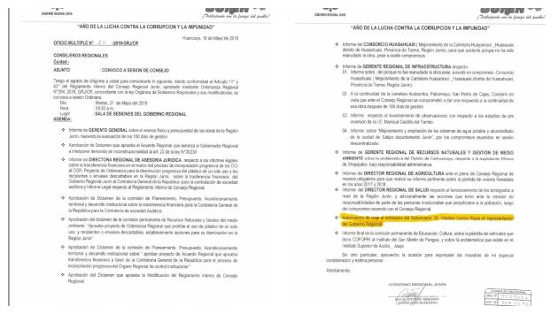Oficio múltiple N°20-2019-GRJ/CR del 16 de mayo de 2019 (Gobierno regional de Junin).