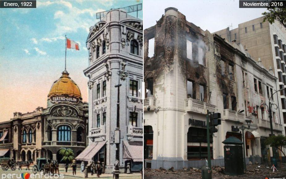 El antes y después del edificio Giocoletti, hoy convertido en cenizas