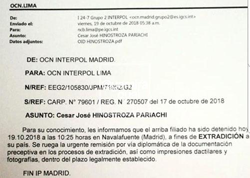 Este es el documento de la Interpol donde informa la captura de César Hinostroza. (Foto: Twitter)