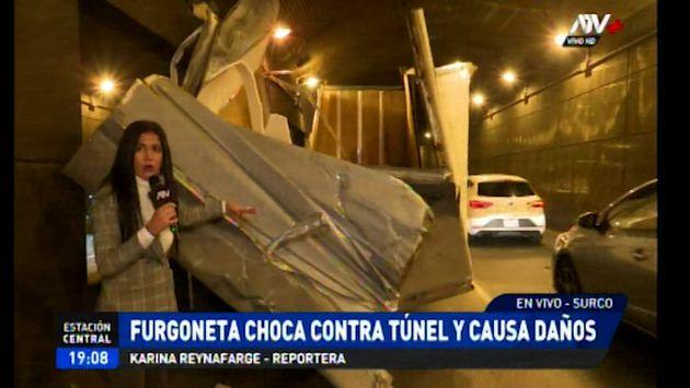 Surco: furgoneta queda atrapada en túnel del Óvalo Higuereta | VIDEO