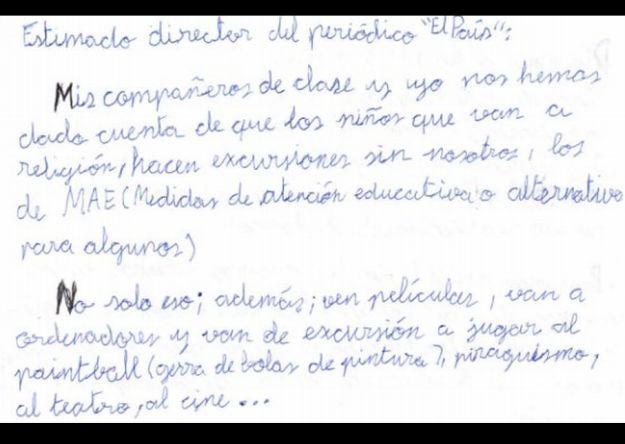 La queja de un niño de 12 años sobre el curso de religión es viral en España