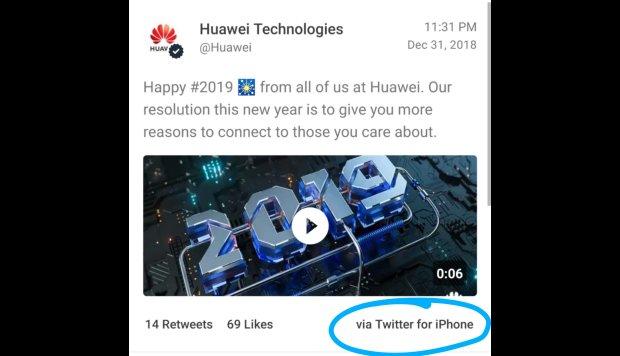Huawei sanciona a dos empleados por haber tuiteado con un iPhone