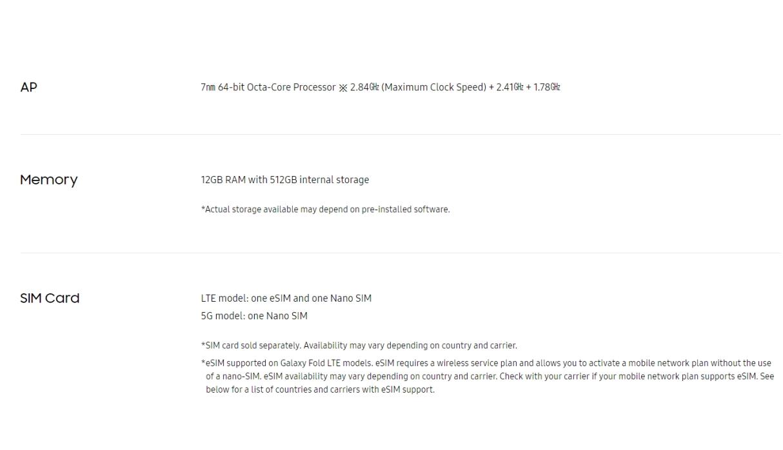 Samsung Galaxy Fold - Especificaciones 6