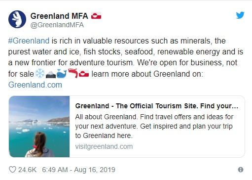 El gobierno local emitió un comunicado luego de que se conociera que Donald Trump quiere comprar la isla perteneciente a Dinamarca.