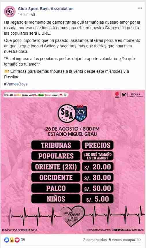 Esta es la publicación en Facebook de Sport Boys.