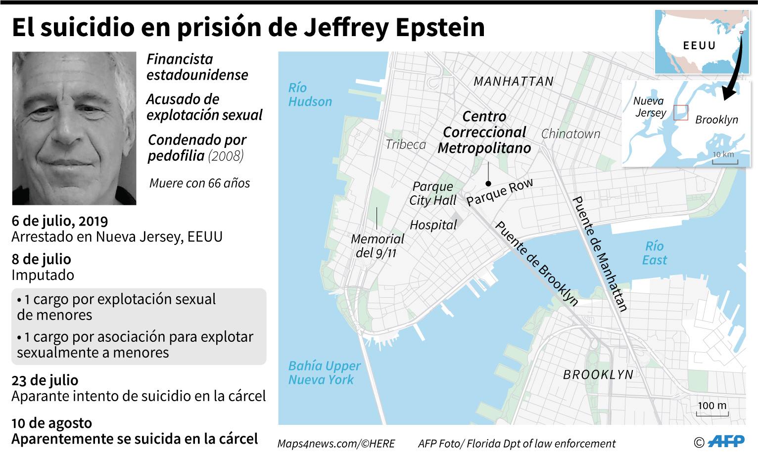 Mapa de Manhattan y perfil del millonario estadounidense Jeffrey Epstein, muerto en la cárcel por aparente suicidio y acusado de explotación de menores (AFP)