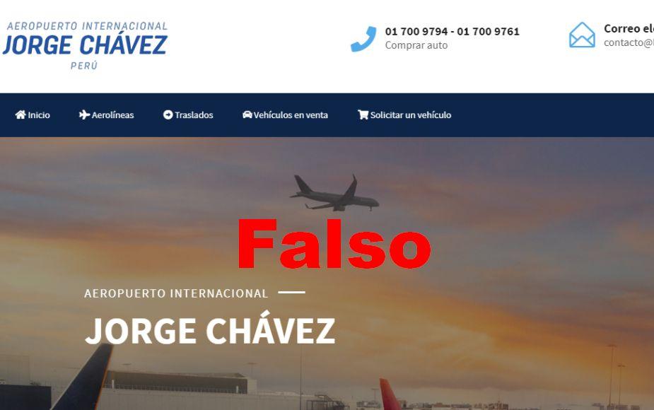 Advierten que web se hace pasar por sitio oficial del Aeropuerto Jorge Chávez