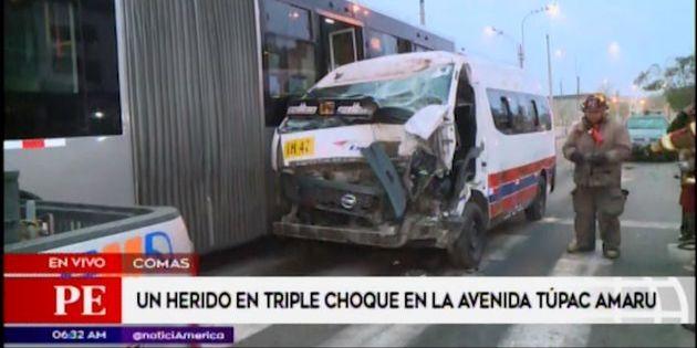 Comas: conductor de combi herido tras choque en la Avenida Túpac Amaru | VIDEO