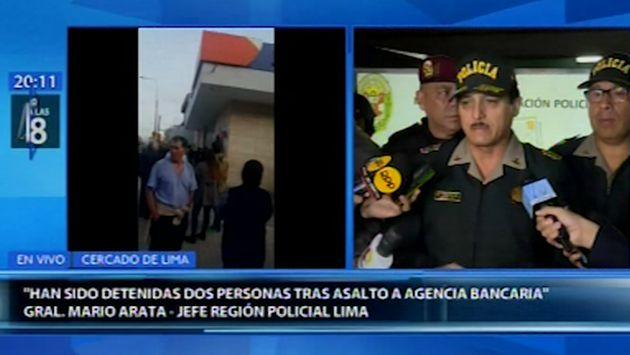 Cercado de Lima: Policía capturó a dos presuntos delincuentes tras asalto en agencia bancaria   VIDEO