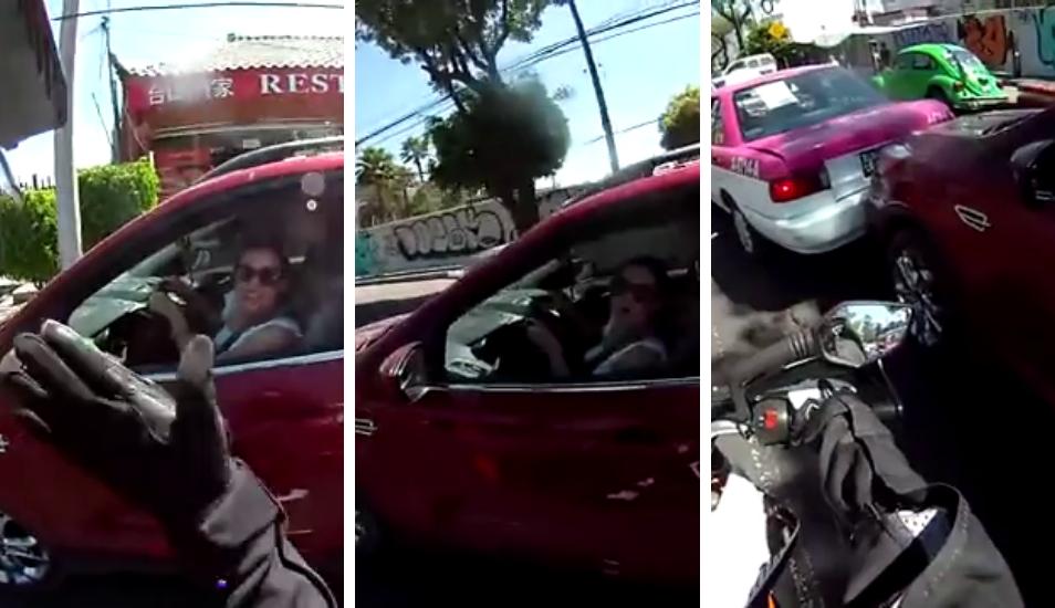 Se peleó con un motociclista al que casi atropella y protagonizó un choque múltiple