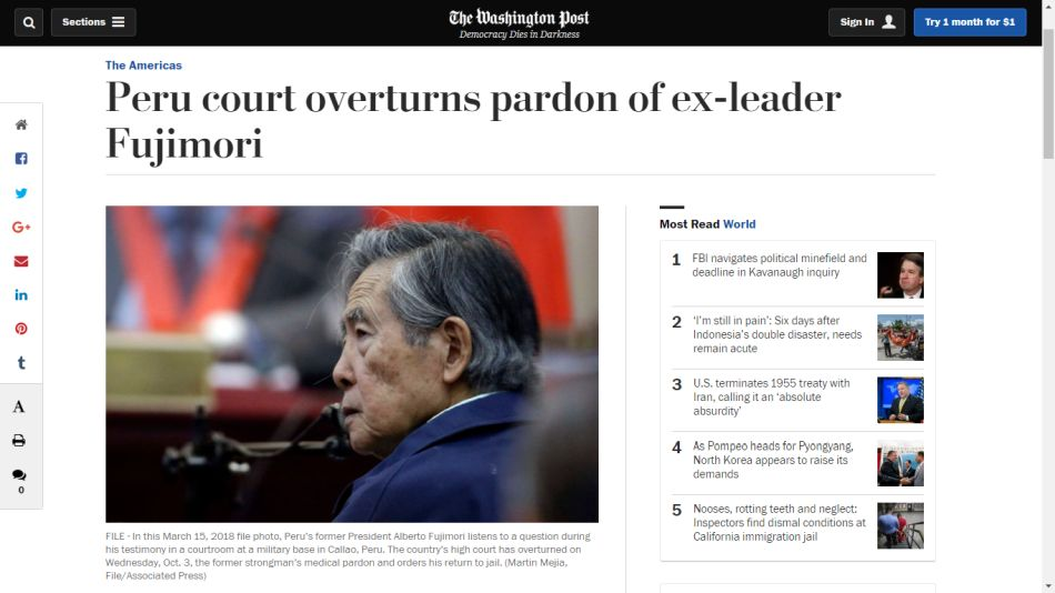 """Tribunal peruano anula indulto al ex presidente Fujimori"", indica ""The Washington Post"". (Foto: washingtonpost.com)"