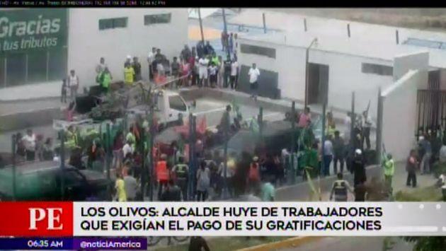 Los Olivos: trabajadores que exigían el pago de sus gratificaciones