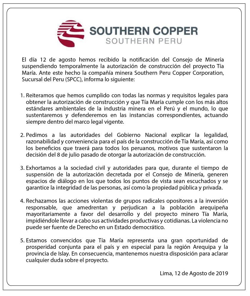 Primer pronunciamiento de Southern Copper, tras la suspensión de la licencia de Tía María. (Fuente:Southern)