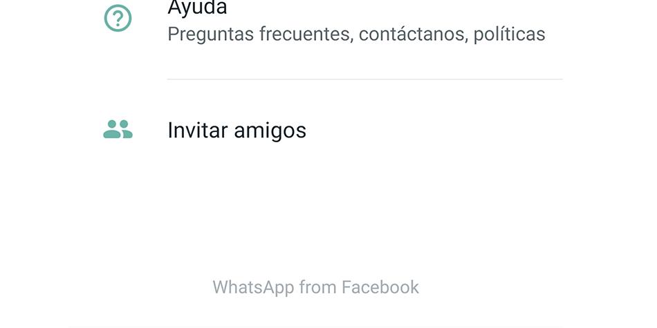 """Ahora WhatsApp pasa a llamarse """"WhatsApp from Facebook"""". Este cambio se observa en los ajustes de la aplicación. (Foto: WhatsApp)"""
