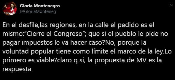 Gloria Montenegro escribió en Twitter.