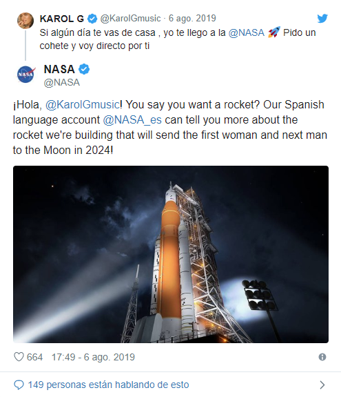 La Nasa respondió el tuit de Karol G.