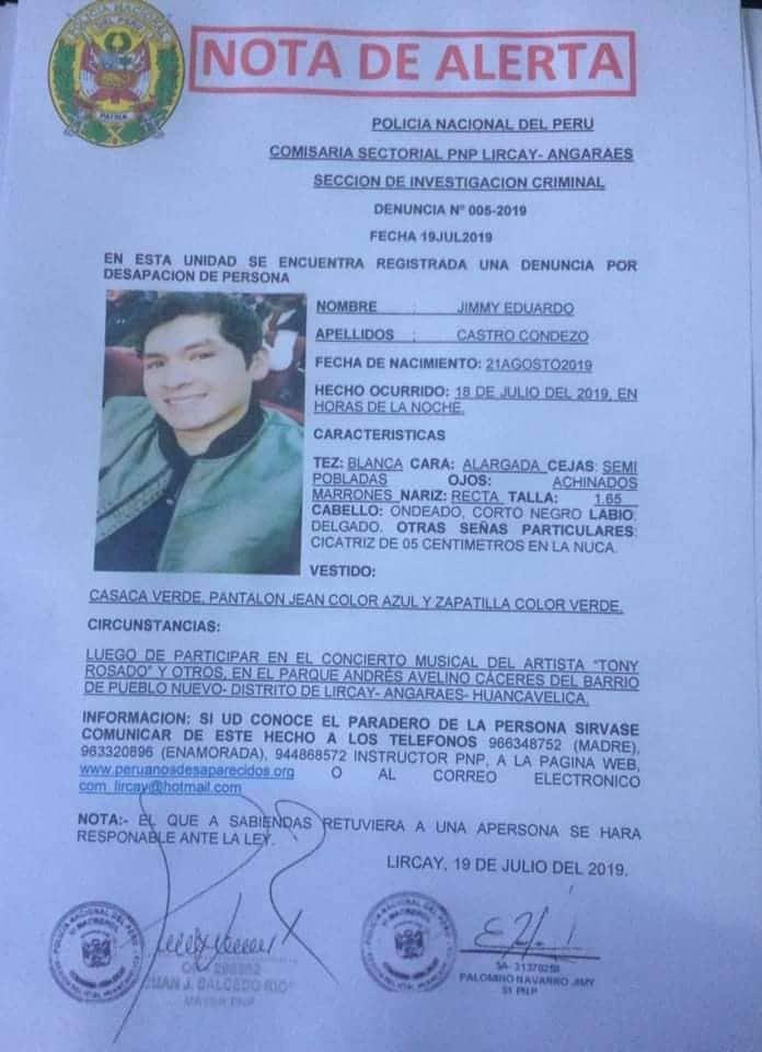 Peruanos desaparecidos