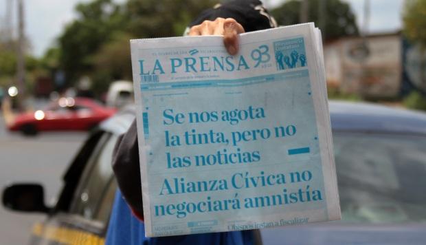 """Diario La Prensa de Nicaragua sale """"descolorido"""" por bloqueo de tinta"""