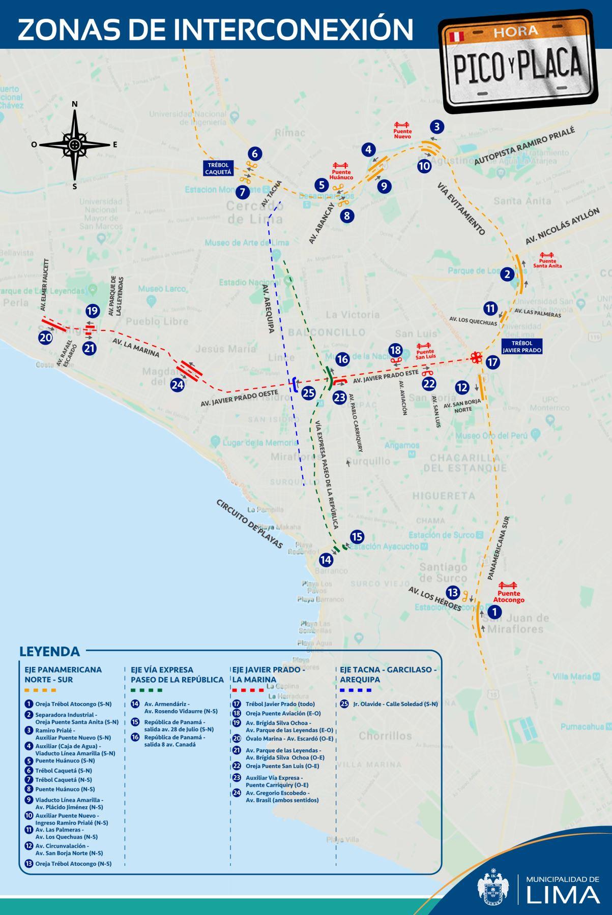 Municipalidad de Lima informa que son 25 zonas de interconexión en las que no se tomarán fotopapeletas.