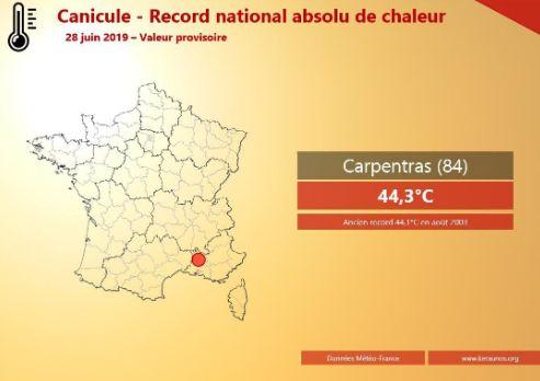 Francia registró un récord absoluto de temperatura este viernes, con 44,3 ºC a las 13H48 en la localidad de Carpentras. (Foto: @KeraunosObs - Twitter)