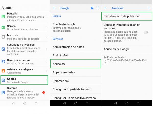 Dentro de la configuración de la cuenta de Google se puede modificar los permisos de recolección de datos con fines publicitarios.
