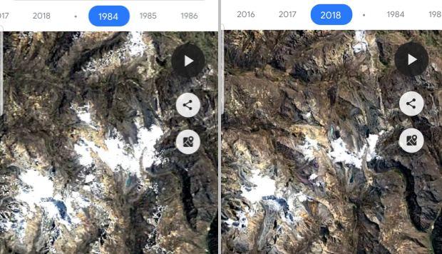 Así se derritió el Nevado Pastoruri en los últimos 35 años, según Google