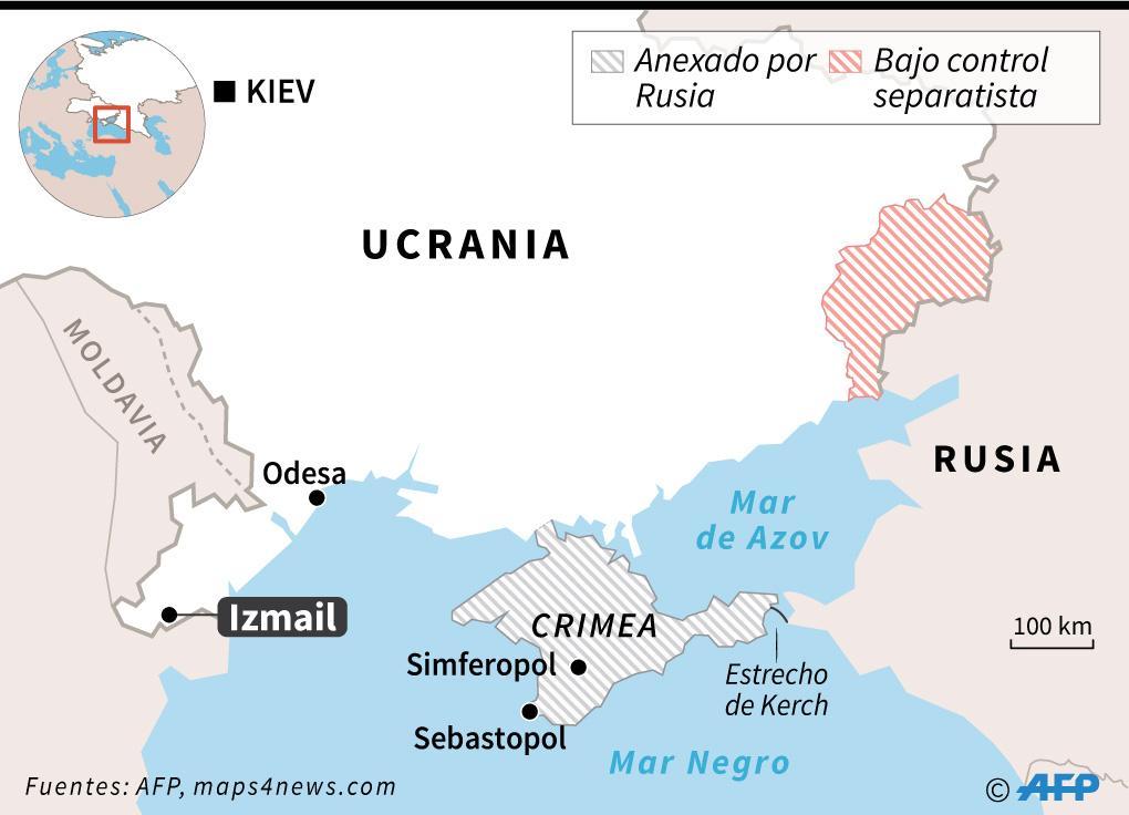 Localización del puerto de Izmail en Ucrania, en donde las autoridades ucraniana retienen un petrolero ruso. AFP