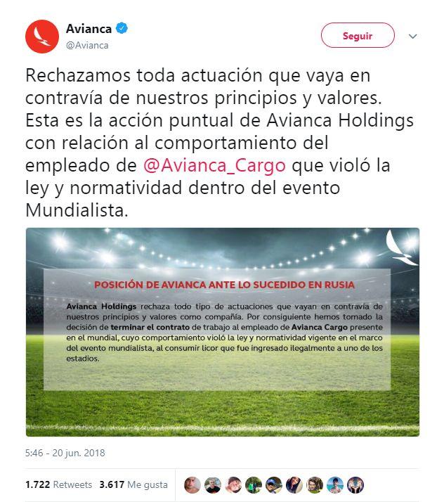 Avianca decide despedir a trabajador colombiano que infringió normas en Mundial de Rusia. (Twitter/@Avianca)