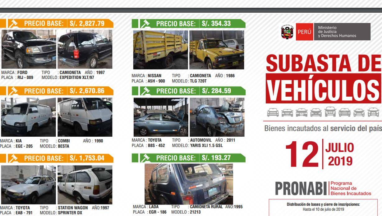 Programa de Bienes Incautados rematará vehículos con precio base desde 193 soles