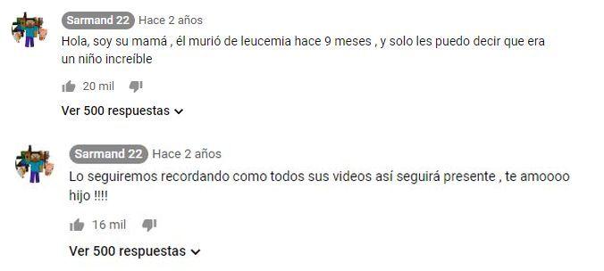 """La madre de """"Sarmand 22"""" confirmó su fallecimiento en los comentarios de su último video en YouTube."""