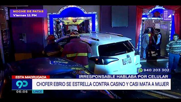 Lince: conductor en aparente estado de ebriedad estrella contra fachada de casino