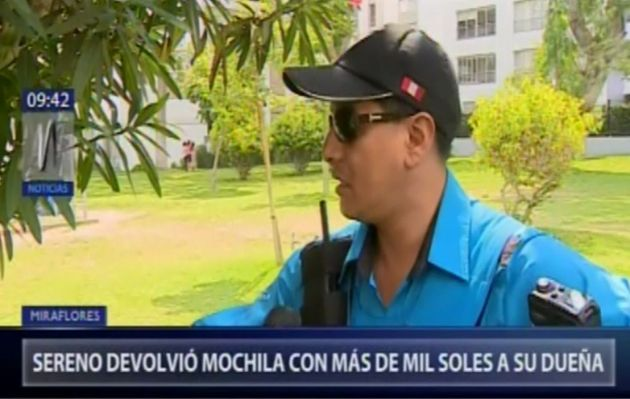 Sereno devolvió mochila con dinero a su dueña en Miraflores
