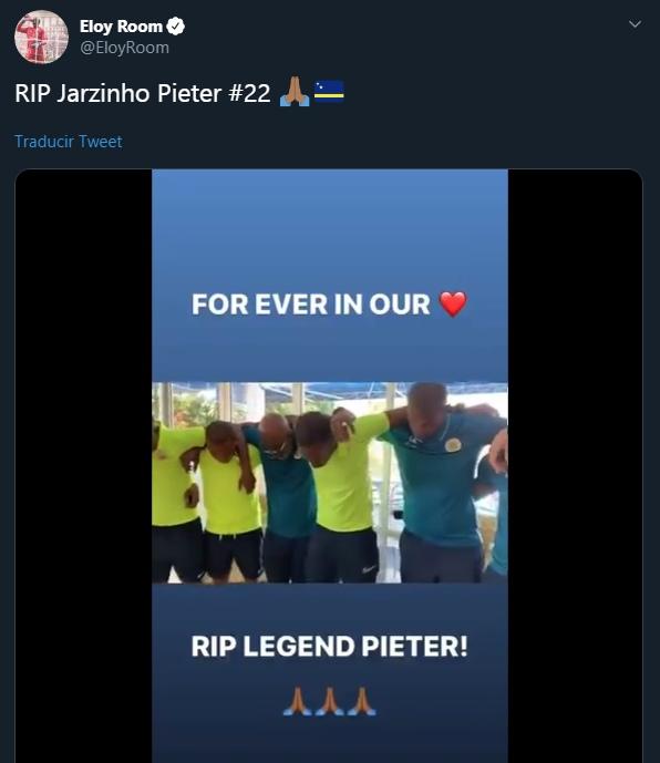 Así despidió el portero Eloy Room a su compañero Jairzinho Pieter. (Foto: Captura de Twitter)