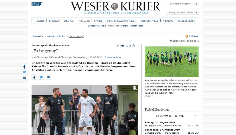Claudio Pizarro anunció su retiro y Alemania llora: las portadas tras noticia del 'Bombardero' | FOTOS
