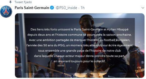 El comunicado de PSG sobre Kylian Mbappé.