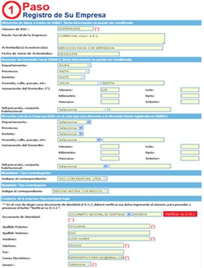 Esta es la ficha de que debe rellenar con los datos de la empresa (Foto: Ministerio de Trabajo y Promoción del Empleo)