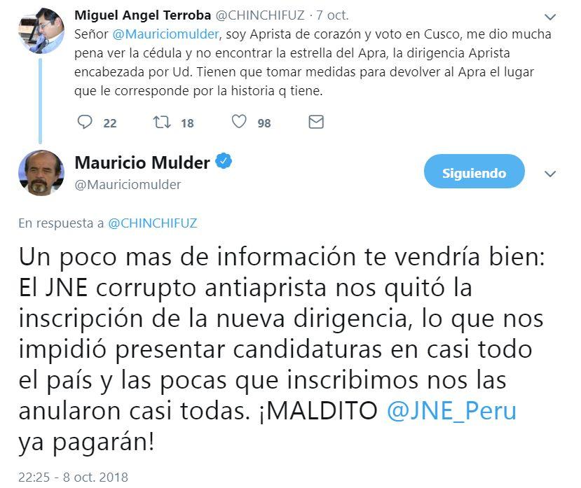 Mauricio Mulder en Twitter