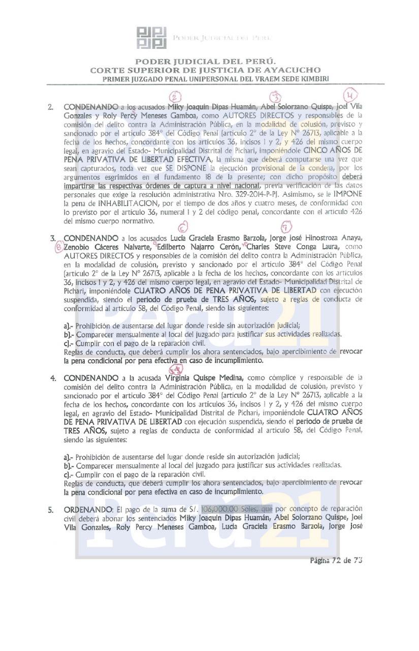 Sentencia del Poder Judicial contra Joaquín Dipas.