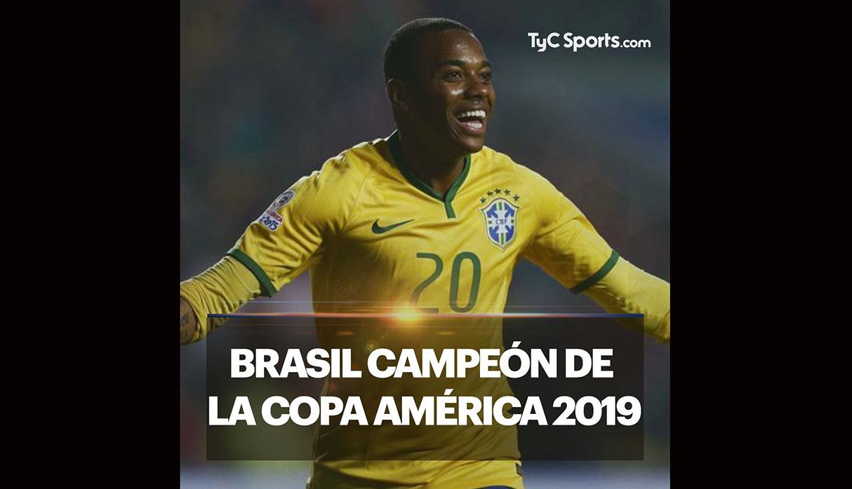Copa América: medio argentino felicita título de Brasil con foto de Robinho