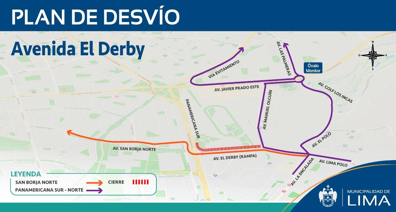 Surco: conoce el plan de desvíos en la Av. El Derby por obras de reubicación de desagüe