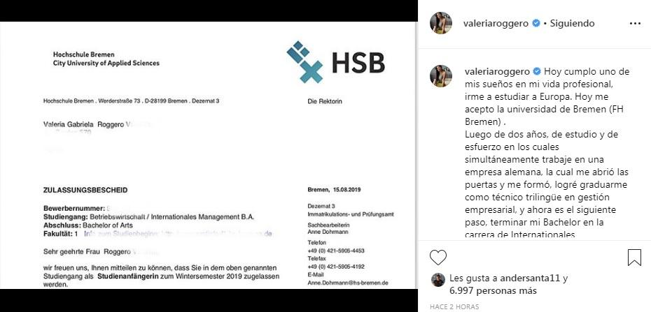 Valeria Roggero mostró la constancia de ingreso a la Universidad de Bremen / Instagram: Valeria Roggero