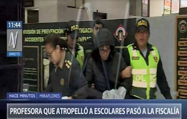 Profesora que atropelló a seis menores en Miraflores fue traslada al Ministerio Público