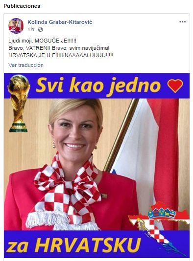 Kolinda Grabar-Kitarović celebra clasificación de Croacia a la final de Rusia 2018. (Captura de Facebook)