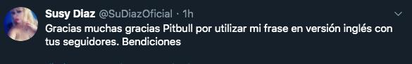 Susy Díaz respondió a Pitbull. (Twitter)