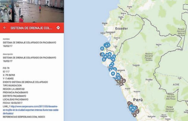 Crean un mapa interactivo de huaicos e inundaciones